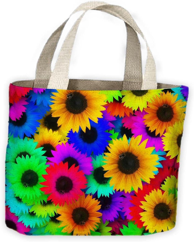 Multi Coloured Sunflower Tote Shopping Bag For Life