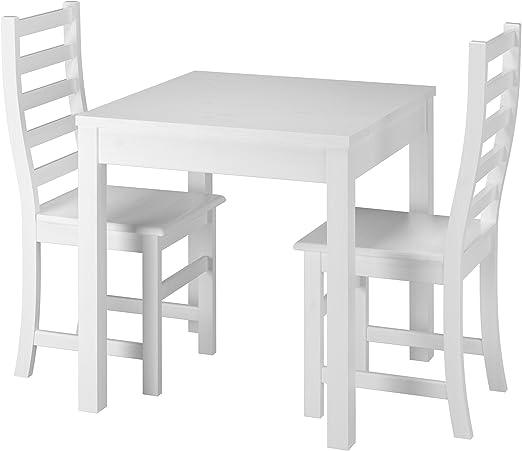 Erst Holz® Moderne weiße Essgruppe mit Tisch und 2 Stühle