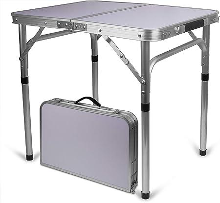 Storfisk fishing & more Mesa de camping de aluminio, plegable, tamaño pequeño, asa de maleta, superficie de la mesa: 45 cm x 60 cm, altura variable
