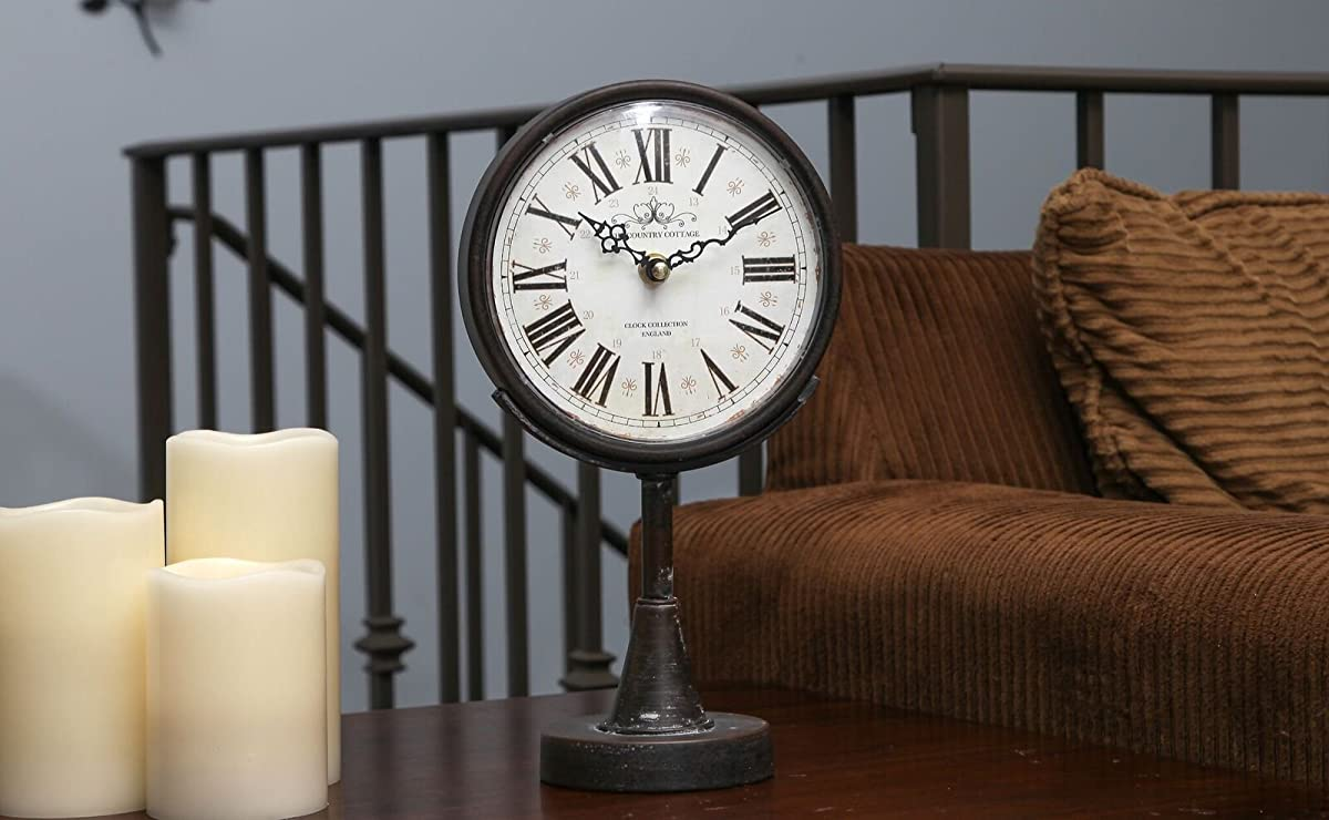 """Lily's Home Antique Inspired Decorative Mantle Clock with Large Roman Numerals, Battery Powered with Quartz Movement, Fits with Victorian or Antique Décor Theme, Black (11 3/4"""" Tall x 6 1/2"""" Wide)"""