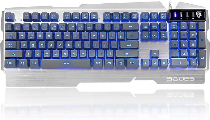 SADES K9 3 colores ajustables retroiluminación USB cableado PC impermeable computadora juego teclado 104 teclas Metal Panel Plug and Play (plata)