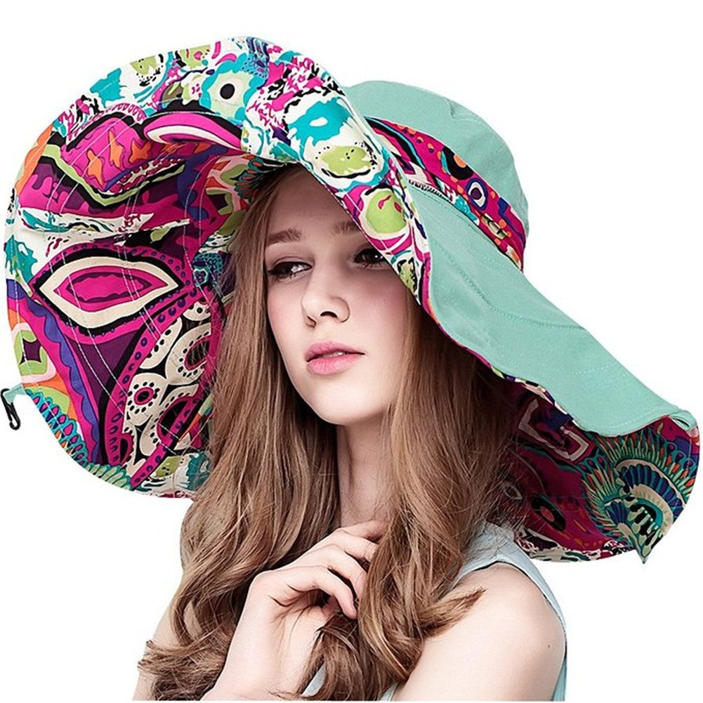 Wicky LS Women's Sun Hat Large Wide Brim Beach Visor Hat Foldable Beach Cap Beige)