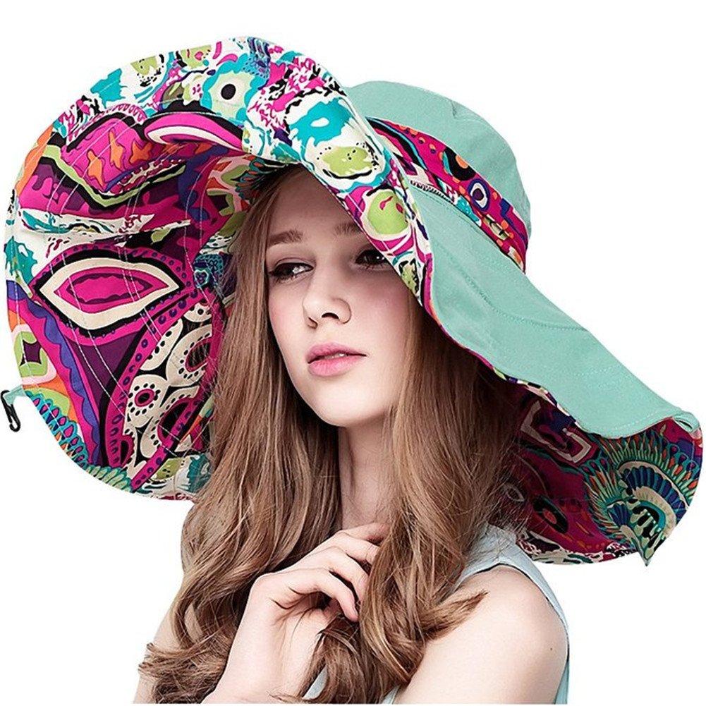 Wicky LS Women's Large Wide Brim Floppy Beach Visor Hat Foldable UPF 50+ Beach Sun Hat(Medium,Light Blue)