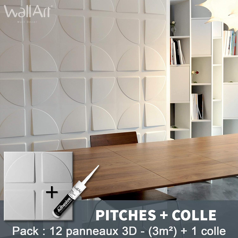 Colle Panneaux 3D I 12 Panneaux D/écoratifs 3m/² I Revetement Mural WallArt D/écoration Murale Salon I Plaquette de Parement Papier Peint 3D Mur 3D Panneau Mural 3D Maxwell pour D/éco Murale