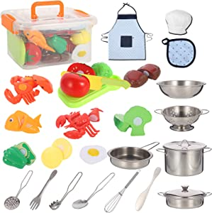 Tuptoel 30PCS Kids Play Kitchen Accessories, Play Food Sets for Kids, Pretend Play Cooking Set Cookware, Apron & Chef Hat for Kids, Birthday/Christmas Gift & Toys for Kids 3 4 5 6+
