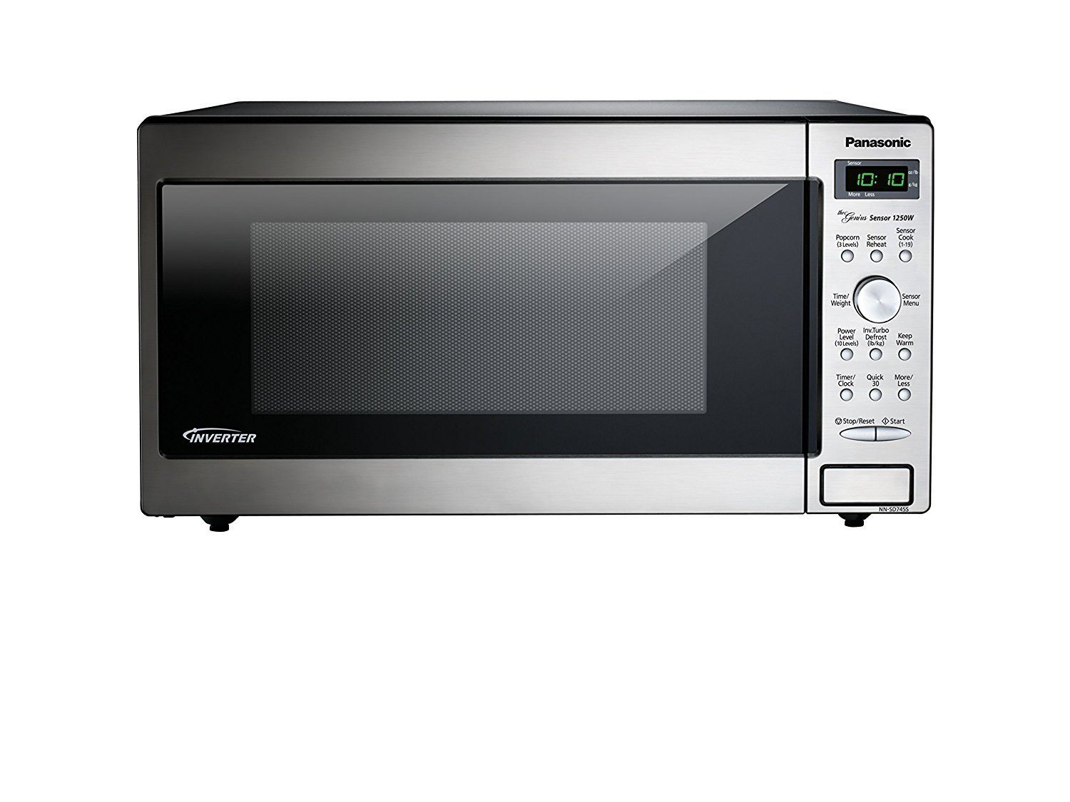 Microwave Oven Compact Countertop Panasonic Electric Stainless Steel 1250 Watt 1.6 cu. ft. Inverter Cookware With Free Pot Holders