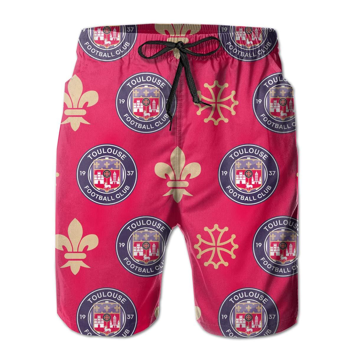 Adonke Toulouse FC Men Swim Trunks Quick Dry Beachwear Party Beach Board Shorts Bathing Suits