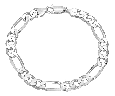 5.6mm 925 Sterling Silver Nickel-Free Flat Figaro Link Chain or Bracelet - Made in Italy + Bonus Cloth o82LQT
