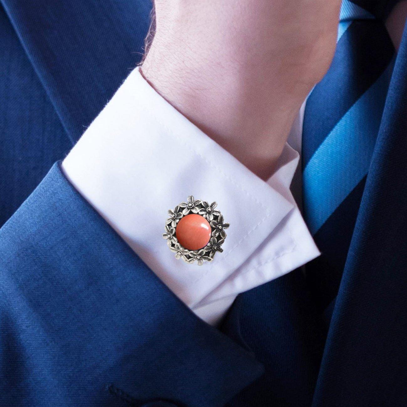 Men's Cufflinks Sea Coral Gemstones Sterling Silver 925 Handmade Vintage Style