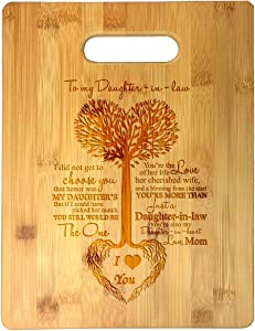 to My Daughter in Law Wife of Daughter Tree Heart Rainbow Sweet Sayings Birthday, Mother's Day Laser Engraved Bamboo Cutting Board - Wedding, Housewarming, Anniversary, Birthday, Christmas, Gift