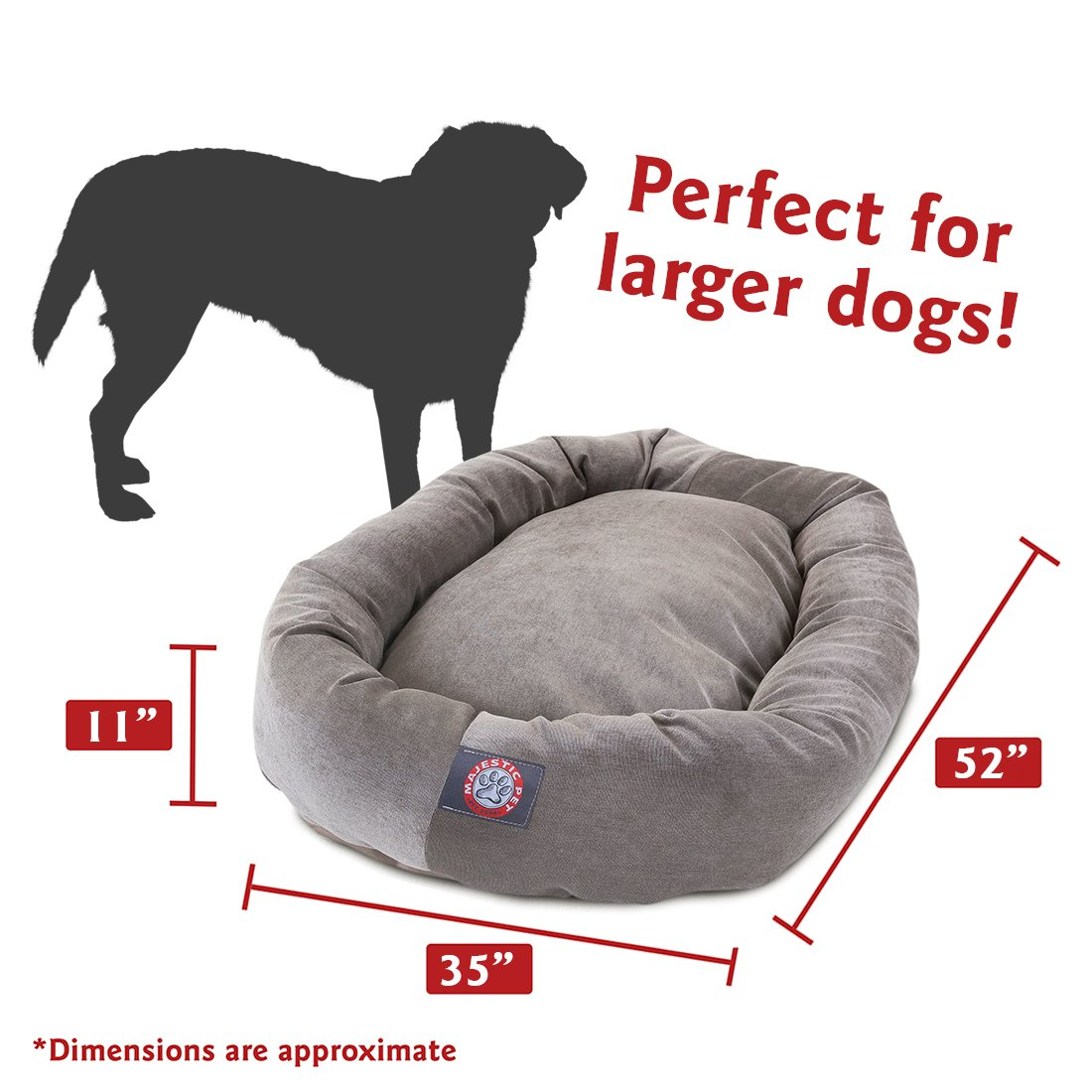 52 inch Vintage Villa Collection Micro Velvet Bagel Dog Bed By Majestic Pet Products by Majestic Pet (Image #3)
