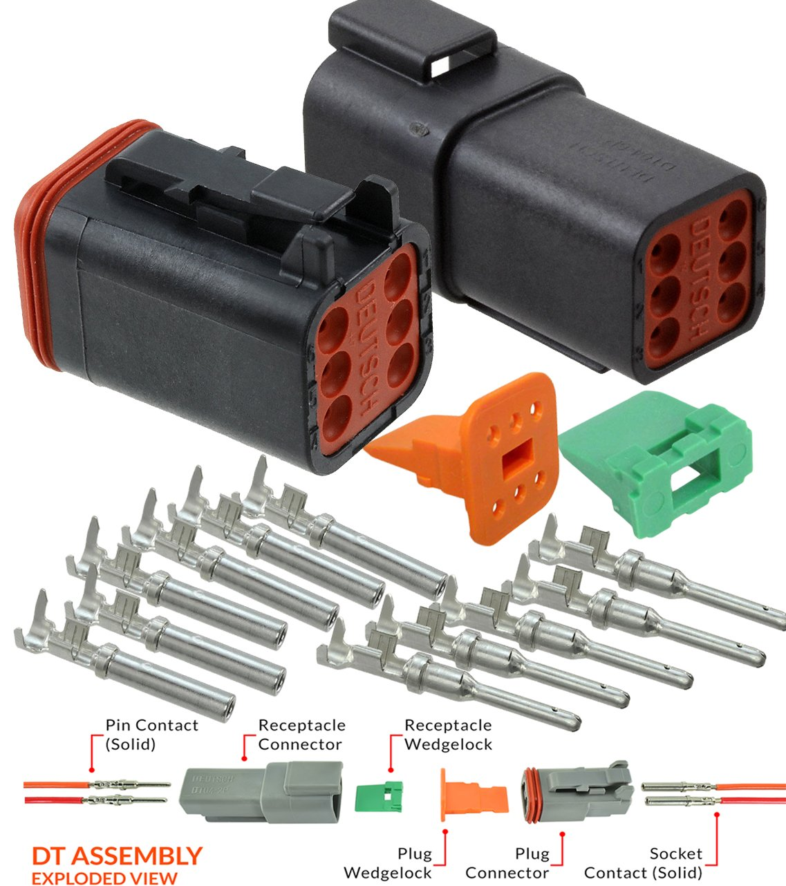 mm Recommended Insulation O.D 3 Completed Set Range: 2.41-3.81 Connector Kit with Housing Pins /& Seals Crimp Style Terminals 14-16 Gauge Deutsch 2-Pin