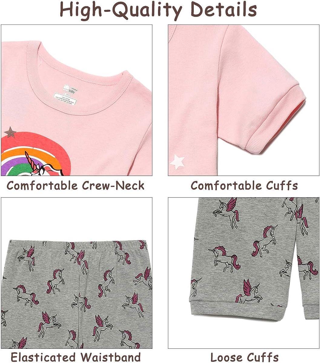 Unicorn//Flamingo Kasqo Girls Pajamas Sets Cotton Summer Sleepwear Short Sets Toddler Kids 2 Piece Children Clothes Snug Fit