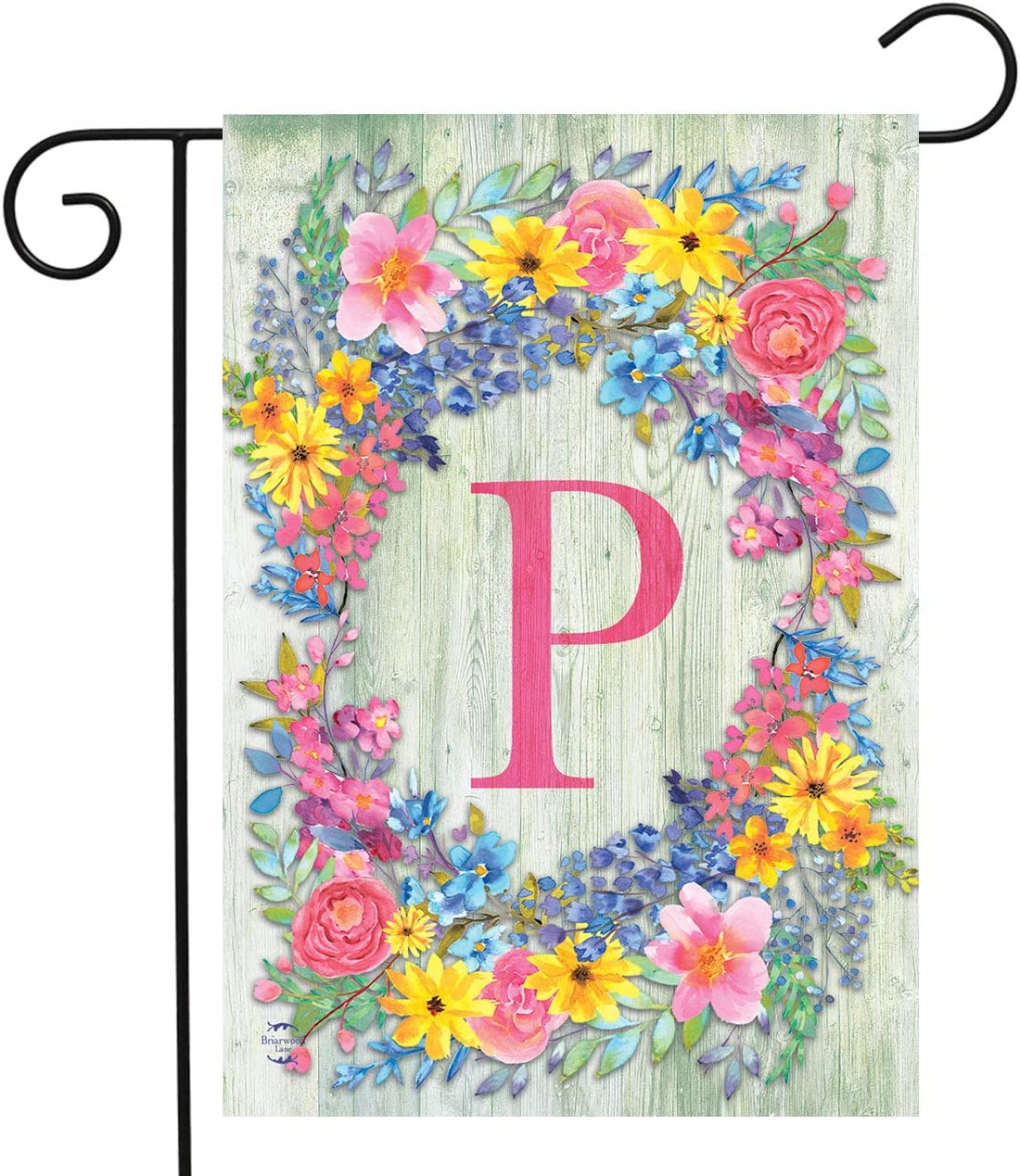 "Briarwood Lane Spring Monogram Letter P Garden Flag Floral Wreath 12.5"" x 18"""