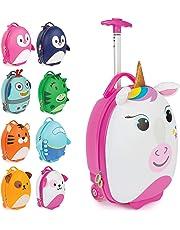 boppi Tiny Trekker trolley per bambini bagaglio a mano trolley con maniglia trolley leggero con ruote valigia a mano 17 litri - Unicorno