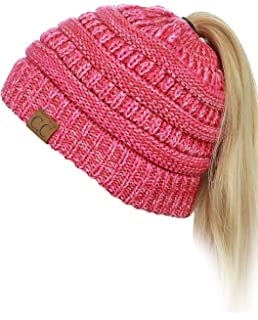 45a7851f C.C BeanieTail Soft Stretch Cable Knit Messy High Bun Ponytail Beanie Hat