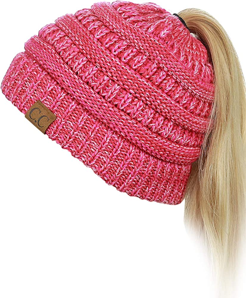 748a5656f0a122 C.C BeanieTail Soft Stretch Cable Knit Messy High Bun Ponytail Beanie Hat,  3 Tone Coral