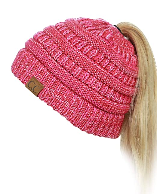 b0ca26d2468dd5 C.C BeanieTail Soft Stretch Cable Knit Messy High Bun Ponytail Beanie Hat,  3 Tone Coral