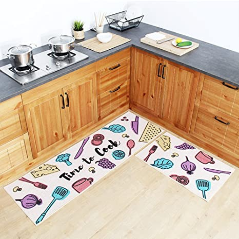 Amazon.com: Ustide Kitchen Rug Set, Colorful Kitchenware Fashion ...