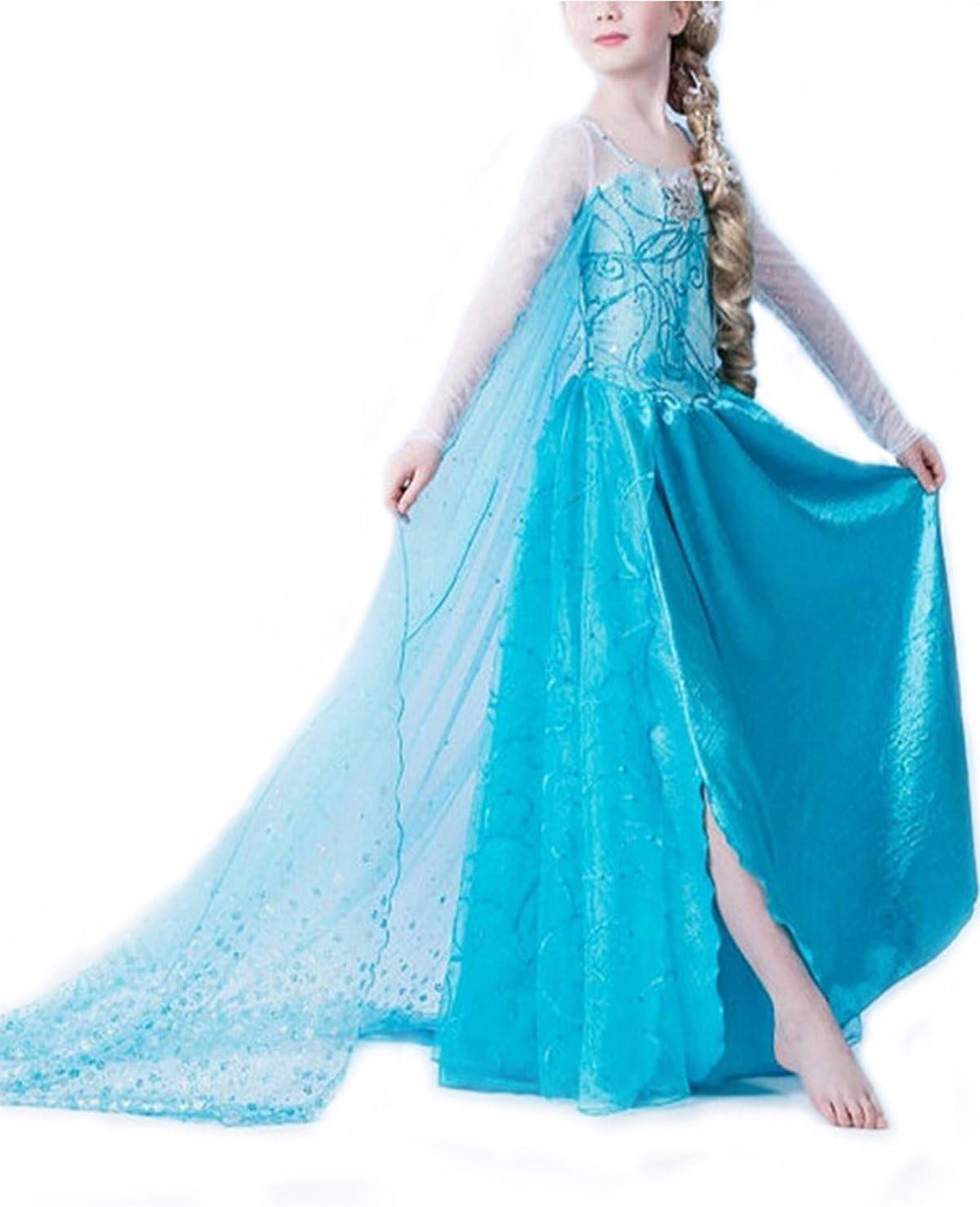 per Bambini per Bimba con Vestito Lungo Compleanno Motivo: Carnevale Halloween URAQT Costume da Principessa Elsa