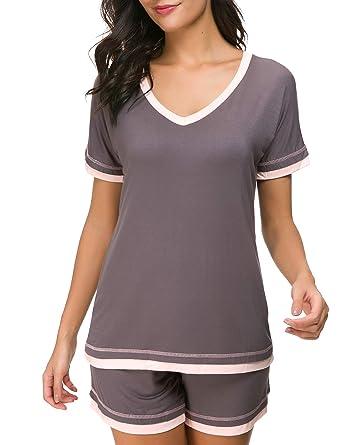 070972b493d Dolay Nightwear Sets Women s V-Neck Sleepwear Short Sleeves Top with Shorts  (Gray