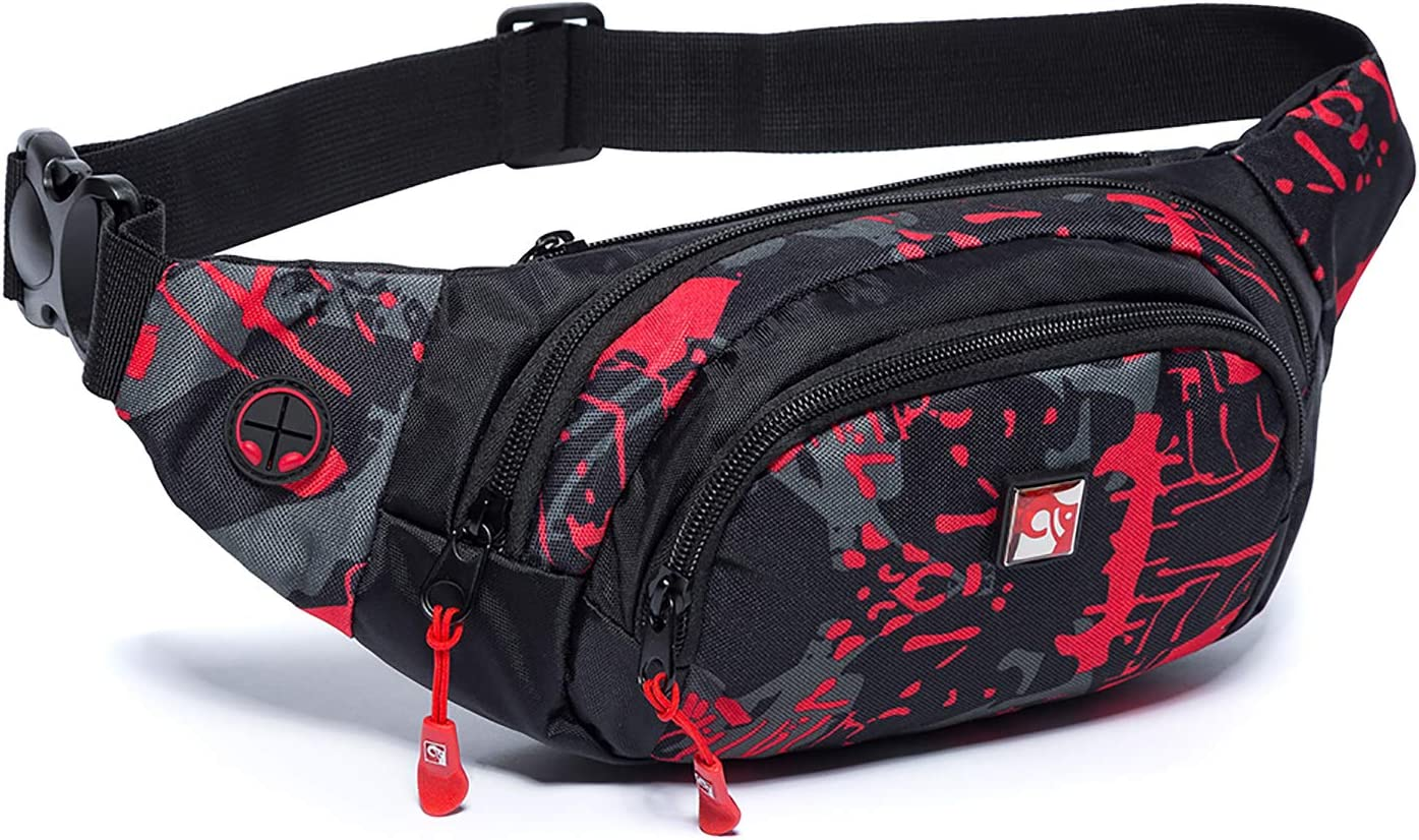 Big Waist Pouch Arrows Fanny Pack Large Hunting Pattern Bum Bag Across Body Water Resistant Belt Bag XL Hiking Strong Clip Hip Bag