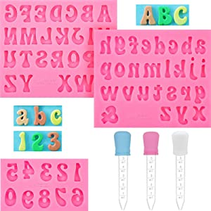 Heptour Silicone Letter Molds and Numbers Molds, Alphabet Molds for Chocolate, 3 Pieces Uppercase Lowercase Number Silicone Letters Mold FondantMold with 3 Pcs Droppers for Candy,Keychain and More