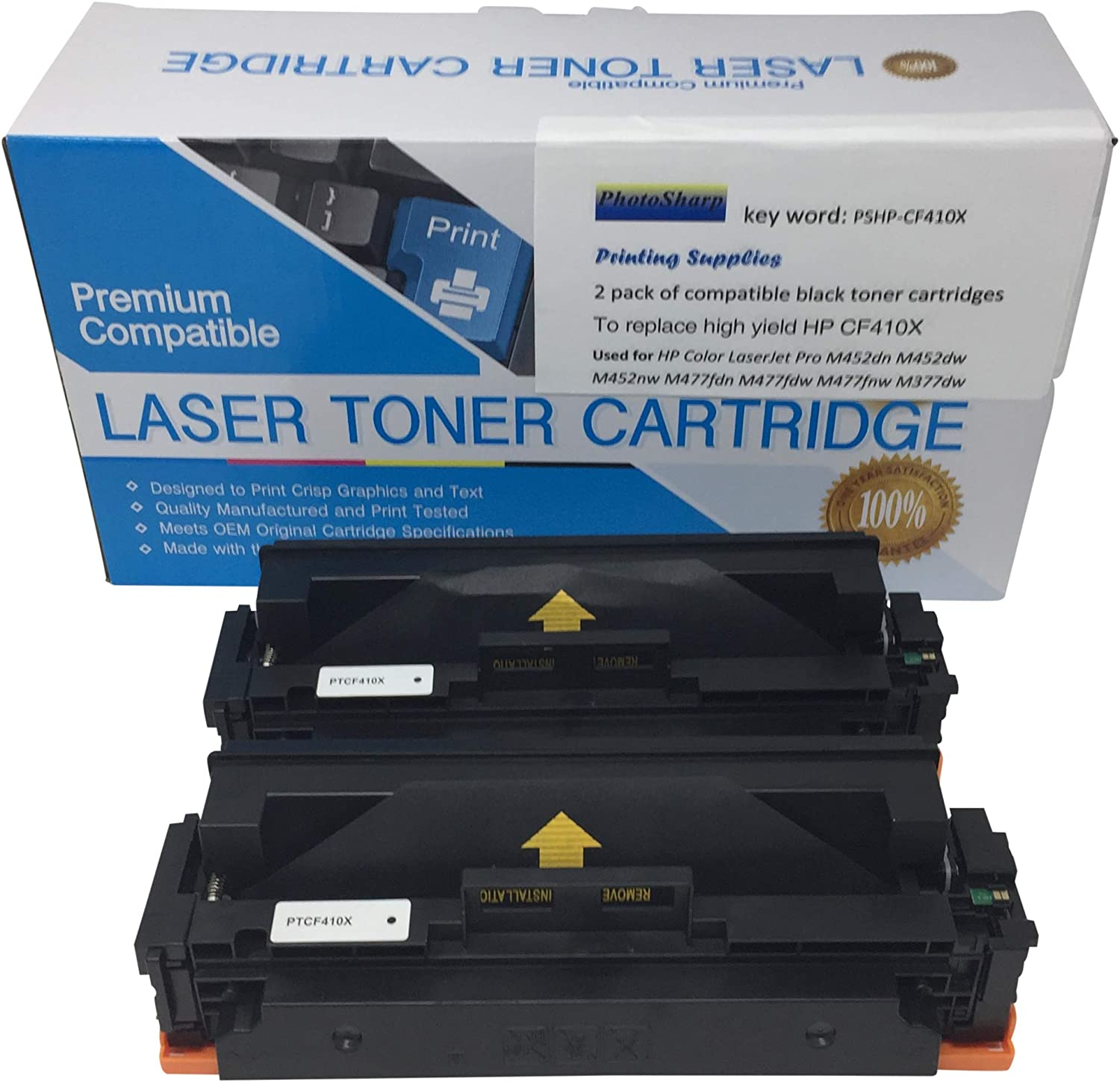 2 Photosharp Black M542 M377dw Ink Toner Cartridges CF410XD replacement for HP 41OX/A CF410X CF410XD CF410A Laserjet Pro M542 MFP M377dw all in one color Laser Printer