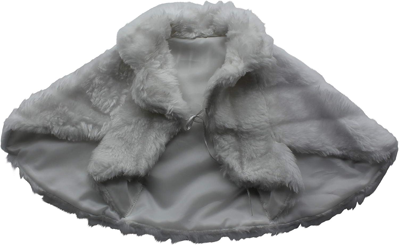 Lacey Bell Girls First Holy Communion Flower Girl Faux Fur Jacket Bolero CJ24
