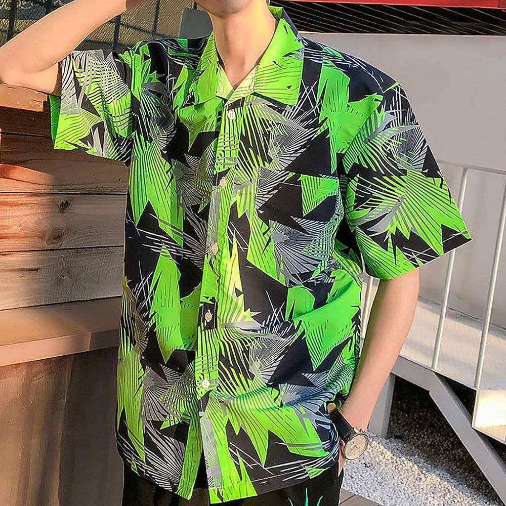 Modaworld - Camisa Hawaiana para Hombre, M-5XL, Manga Corta, diseño Hawaiano con Flores y Palma, Verde M: Amazon.es: Ropa y accesorios