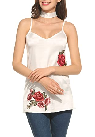 935032334efb9 Zeagoo Women s V Neck Satin Camisole Spaghetti Strap Tank Top Rose  Embroidery at Amazon Women s Clothing store