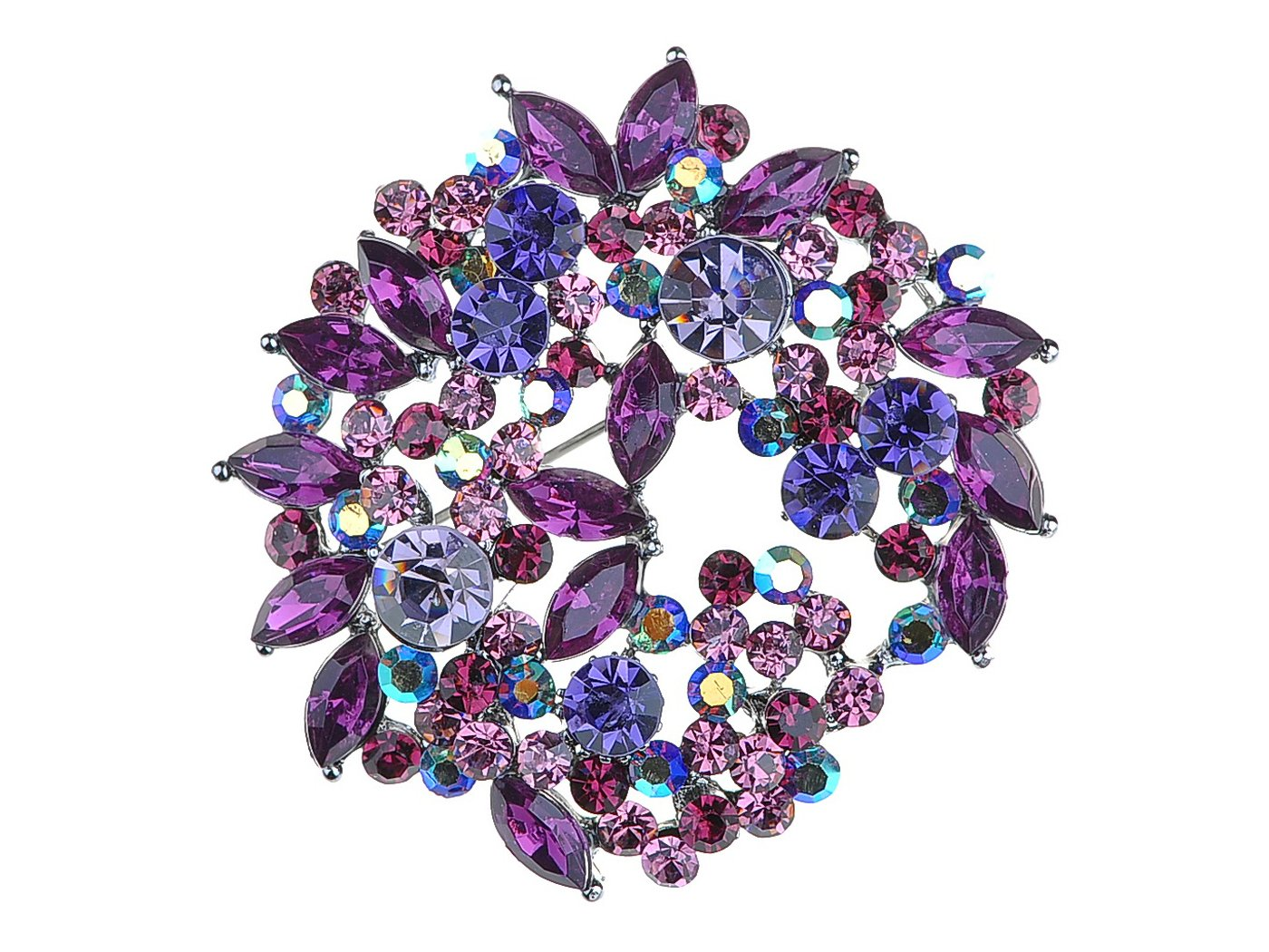 Alilang Violet Lavender Purple Crystal Rhinestone Floral Wreath Brooch Pin