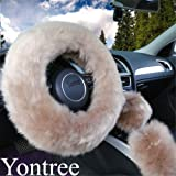 Yontree Fashion Fluffy Steering Wheel Covers for Women/Girls/Ladies Australia Pure Wool 15 Inch 1 Set 3 Pcs (Brown)