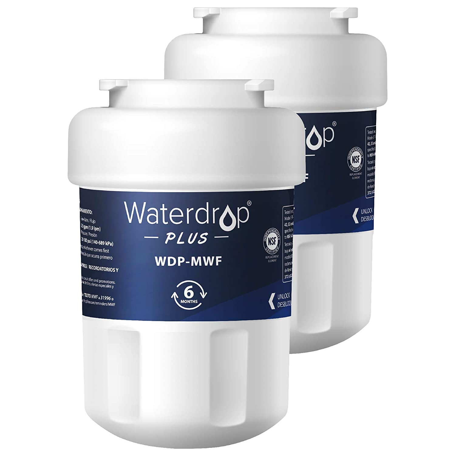 Waterdrop Plus MWF Refrigerator Water Filter, Compatible with GE SmartWater MWF, MWFINT, MWFP, MWFA, GWF, HDX FMG-1, GSE25GSHECSS, WFC1201, RWF1060, Kenmore 9991, Reduces Lead, NSF 401&53&42, 2 Pack