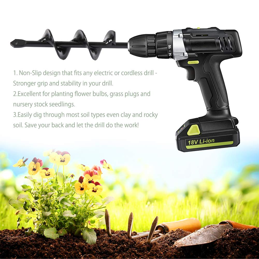 Black 2.0 x 17.7 in ODOMY Auger Drill Bit Garden Plant Flower Bulb HEX Shaft Auger Rapid Planter Bulb /& Bedding Plant Auger for 3//8 Hex Drive Drill Earth Auger Drill Fence Post Umbrella Hole Digger