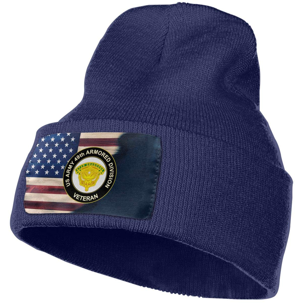 US Army 49th Armored Division Unit Crest Veteran Mens Beanie Cap Skull Cap Winter Warm Knitting Hats.
