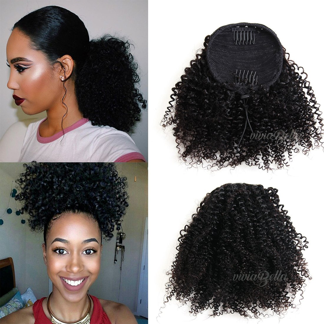 Amazon African American Kinky Curly Ponytail Hair Piece Clip