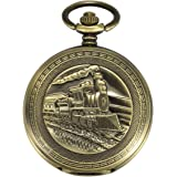 ManChDa Pocket Watch Train Design & Special Open Face Steampunk Skeleton Dial for Men Women with Chain + Gift Box