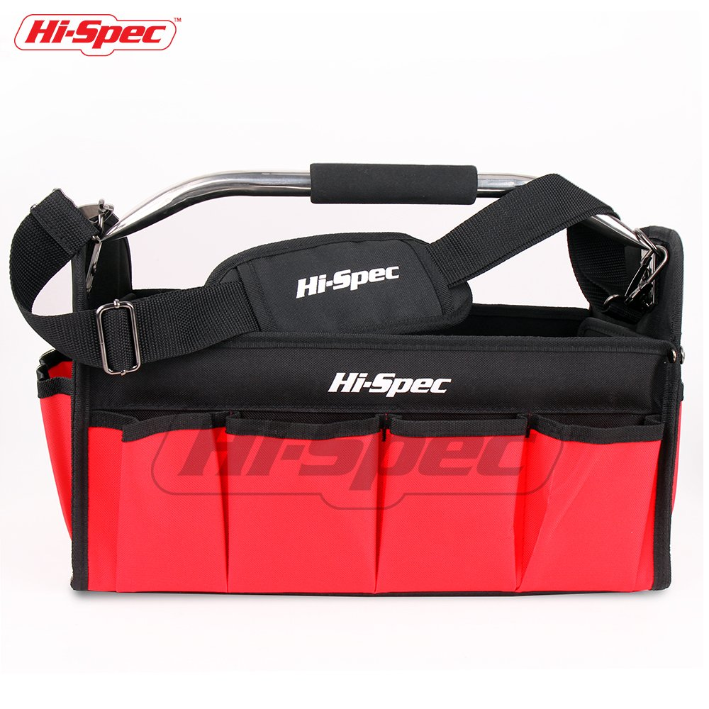 Hi-Spec Heavy Duty Collapsible Open Top Tool Tote Bag with Waterproof Base, 17 Interior/Exterior Tool Slots, Shoulder Strap, Steel Handle, 600D Reinforced Material Technician Mechanic Tool Storage