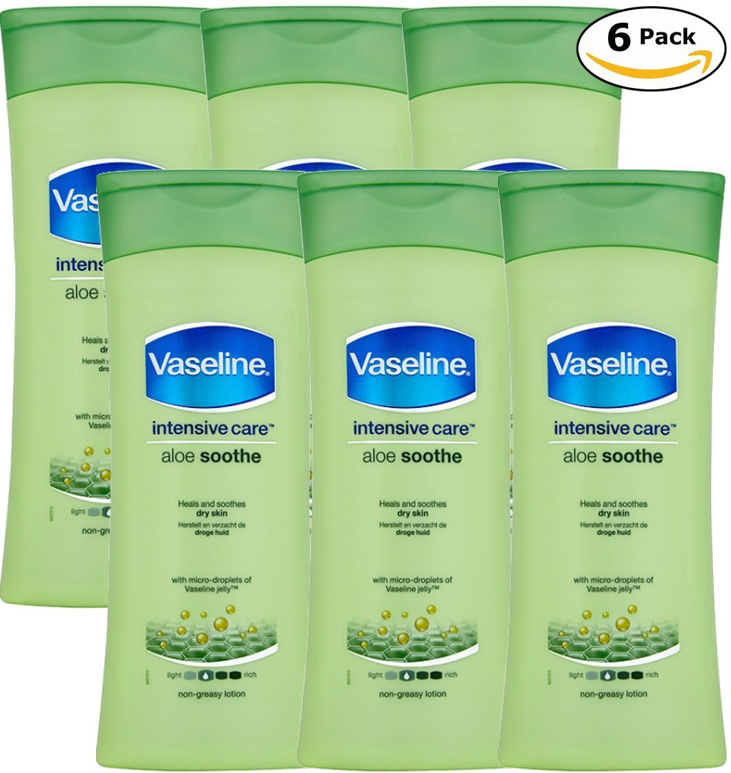 Vaseline Intensive Care Body Lotion, Aloe Soothe, Pack of 6, (13.53 Oz / 400ml Each) by Vaseline