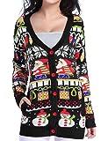 v28 Christmas Sweater Cardigan, Women Girls Ugly Fun Long Knit Colorful Sweaters