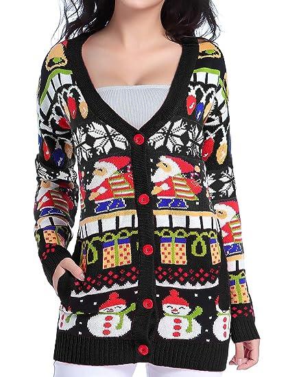 V28 Christmas Sweater Cardigan Women Girls Ugly Fun Long Knit