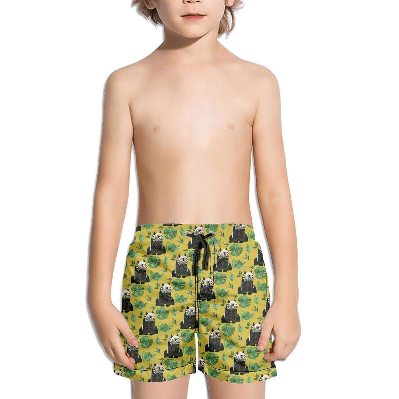 Kid Panda Bear Banana Leaf Beach Shorts Jogging Street Swimwear Funny Boardshorts