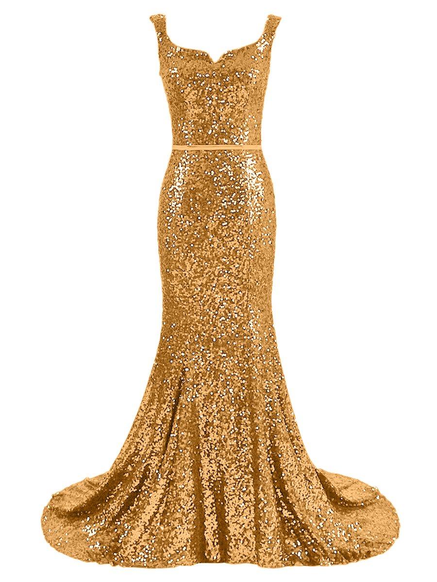 Dressesonline Women's Mermaid Evening Dress Gold Sequins Prom Gown DM030GD-US12