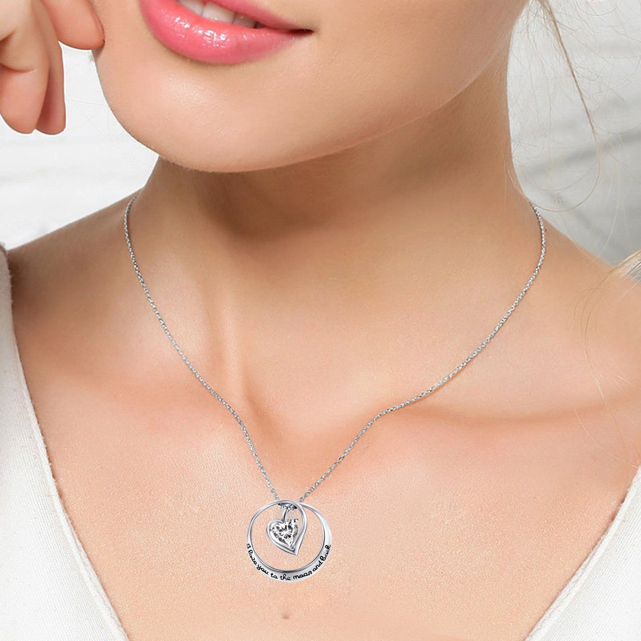 YFN I Love You to the Moon and Back 925 Sterling Silver Open Heart Love Necklace 18'' by YFN (Image #3)