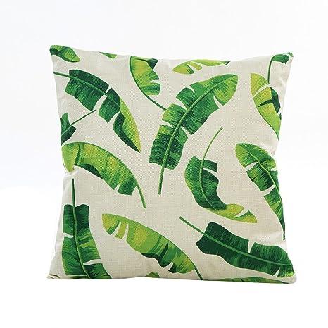 Funda de Almohada, ❤️ Manadlian ❤️ Cojín Tropical Verde Hojas de Planta Manta Funda de Almohada para sofá Coche decoración para el hogar (G)