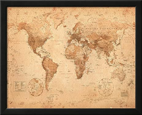 Amazon world map antique framed art print 22 x 18in maps to world map antique framed art print 22 x 18in gumiabroncs Image collections