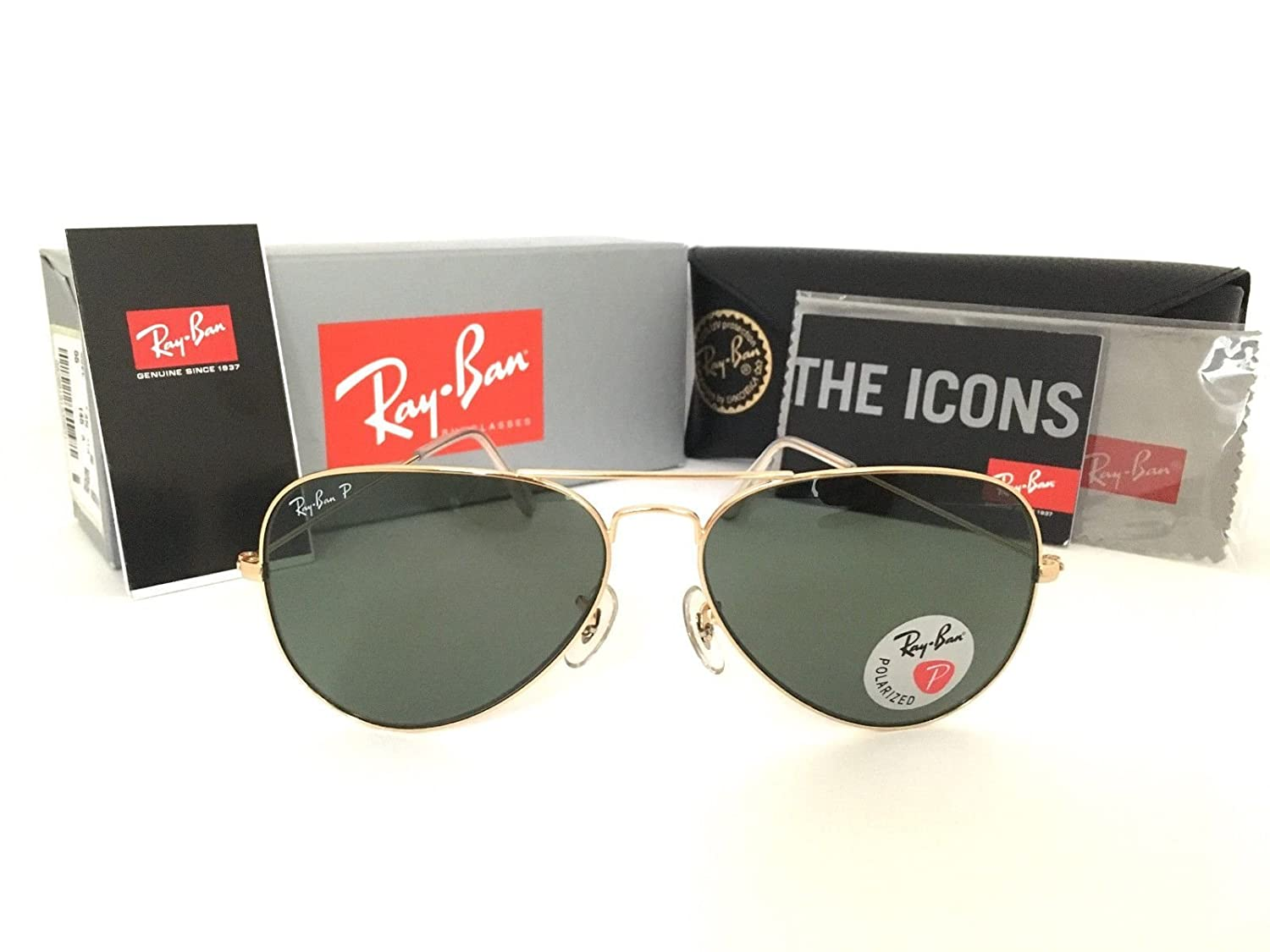 df2a6774678 Amazon.com  Ray-Ban AVIATOR LARGE METAL - ANTIQUE GOLD Frame GREEN Lenses  62mm Polarized  Ray-Ban  Clothing