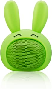 Mini Bluetooth Speaker Wireless Portable Cute Bunny with Squishy Ears (Apple Green)