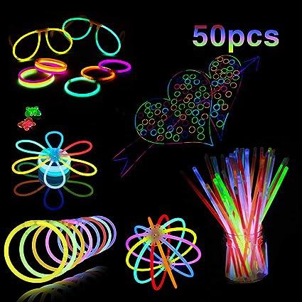 50 Glow Stick Bracelets with Connectors Glow In The Dark Sticks